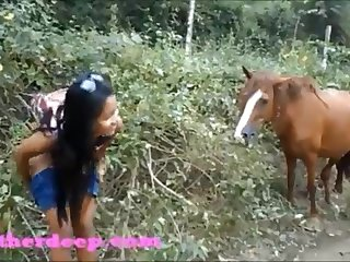 HD Heather Deep four wheeling on scary prompt quad and Urinating next to horses in the jungle